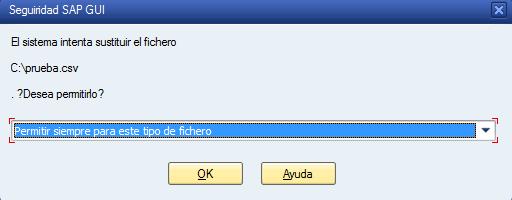 Advertencia al descargar archivo csv, separado por comas