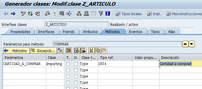 Como Definir parámetros de la clase en ABAP se24.