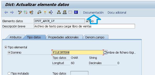 Documentación en un campo z, transacción se11.