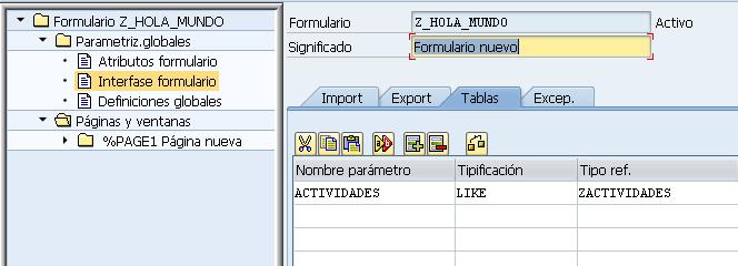 smartform definir tablas como parametros