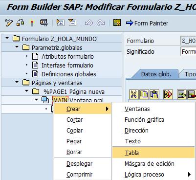 smartforms crear tabla en el formulario